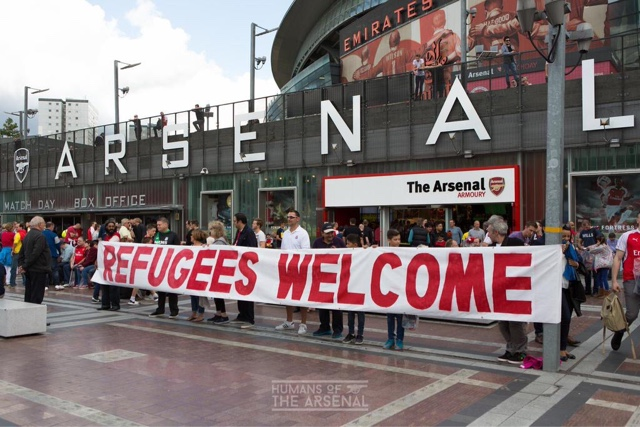 Fan activism in support of refugees at Arsenal.