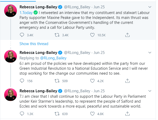 Long-Bailey tweets out about antisemitism claims