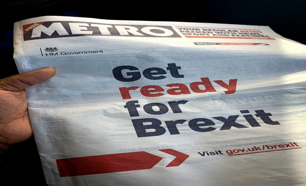 Get ready for Brexit government advertisement in Metro newspaper