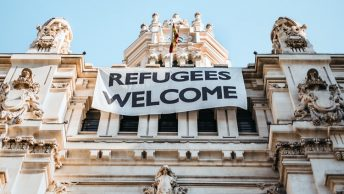 A refugees welcome sign in Madrid, Spain