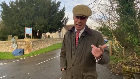 Nigel Farage recording his latest 'Farage Investigates' video in the village of Barton Stacey in Hampshire