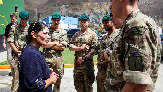 Priti Patel with Armed Forces soldiers