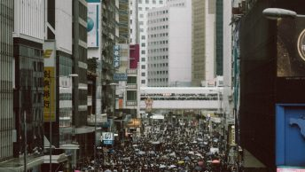 A busy street in Hong Kong