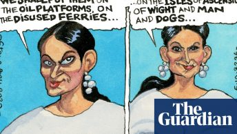 Cartoon strip of Priti Patel's plans for asylum seekers