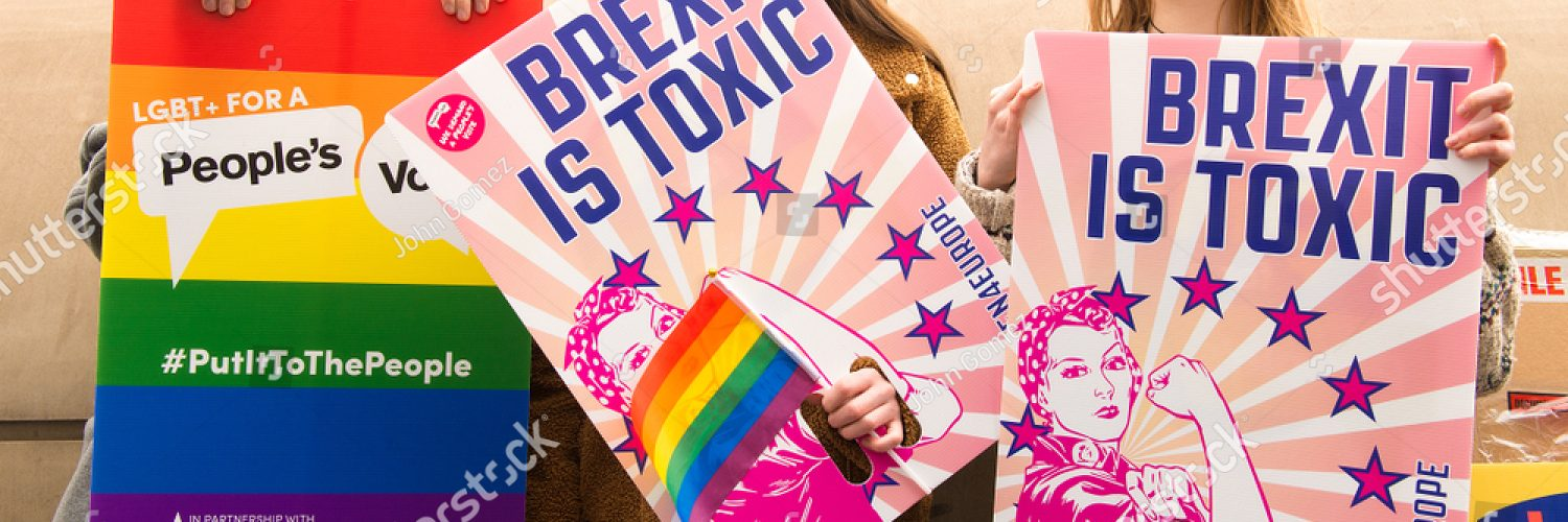 Young women on anti-Brexit march