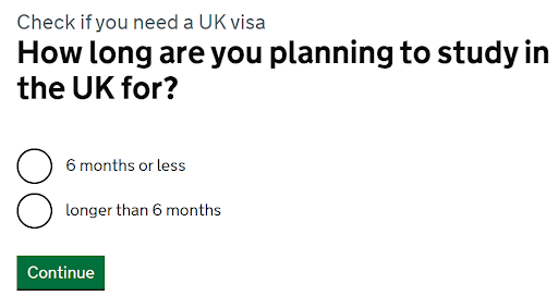 visa check question how long are you planning to study in the UK