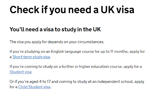 visa check question 3 saying you need a visa to study