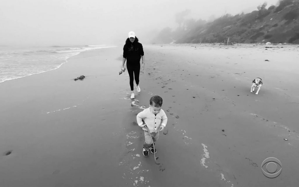 Meghan Markle and son archie playing on a beach in LA