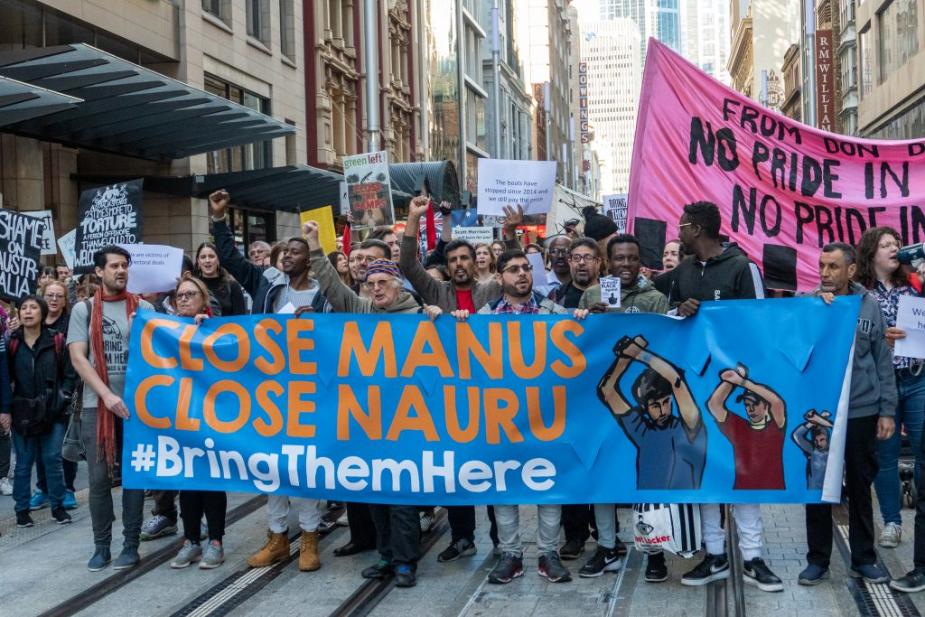 overseas processing centres Protestors in the streets of Sydney calling for closure of Nauru