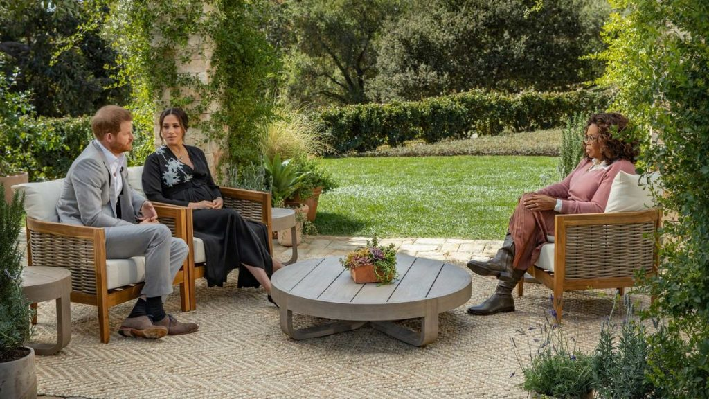 Meghan and Harry in a garden being interviewed by Oprah Winfrey discussing media bigotry in the UK